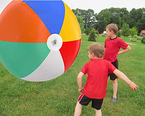 Top Race Giant Inflatable Beach Balls 5 Feet Pool Ball, Beach Summer Parties, and Gifts | 60 inch Tall Blow up Rainbow Color Beach Ball