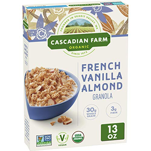 Cascadian Farm Organic Granola, French Vanilla Almond Cereal, 13 oz (Pack of 6)