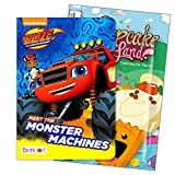Primary Colors Blaze and The Monster Machines Shaped Board Book Set for Early Readers Bundle Includes Separately Licensed Activity Pack with Stickers Crayons and Learning to Read Bookmark for Kids