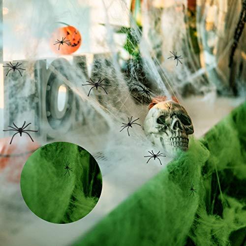 ZERHOK Ragnatela Halloween,200g Ragnatela Luminosa e 8 Pezzi Ragno Falso Decorazione di Halloween al Coperto all'aperto Soggiorno Giardino Vetrina Mascherata Partito