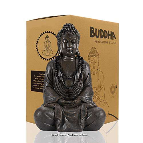 Meditating Zen Buddha Statue Figurine Sculpture - Indoor/Outdoor Decor for Home, Garden,with Natural Wood Beaded Necklace, Polyresin, Antique Bronze Look(11.4 inch)