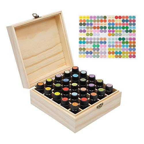 PhantomSky 25 Löcher Tragbar Holz Aromatherapie Geschenk-Box Ätherische Öle Flaschen Box Aufbewahrung Koffer Box - Geeignet für Nagellack, Duftöle, Ätherisches Öl, Stain und Lippenstift