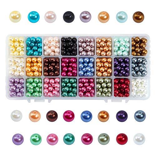 PandaHall Elite & reg 720pcs Umwelt gefärbt Glasperlen Runde Perlen, Mischfarbe, 8mm, Loch: 0,7~1,1 mm; über 30pcs / comparment