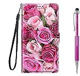 Grandoin für Huawei Honor Play 8A / Y6 2019 Hülle, Handyhülle im Brieftasche-Stil, Handytasche PU Leder Flip Cover Kreative Muster Hülle Magnet Hülle TPU Schutzhülle Lederhülle Hülle (Pinke Rose)