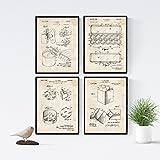 Nacnic Vintage - Pack de 4 Láminas con Patentes de Comida. Set de Posters con inventos y Patentes Antiguas. Elije el Color Que Más te guste. Impreso en Papel de 250 Gramos de Alta Calidad