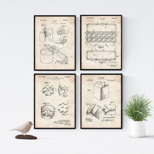 Nacnic Vintage - Pack de 4 Láminas con Patentes de Comida. Set de Posters con inventos y Patentes Antiguas. Elije el Color Que Más te guste. Impreso en Papel de 250 Gramos