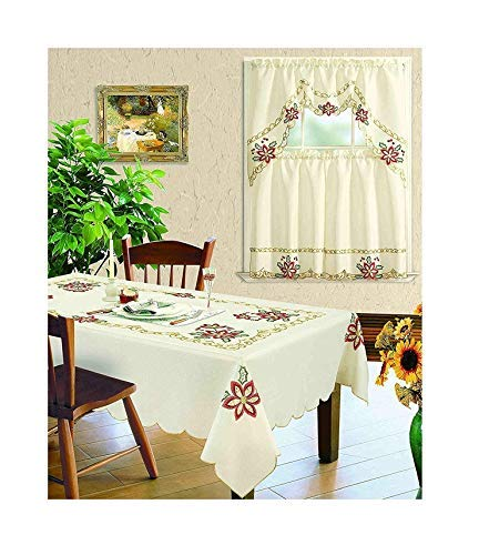 All American Collection New Table Cloth Christmas Holiday Design Embroidered with Available Matching Kitchen Curtain