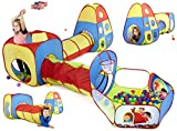 Play Tunnel for Kids and Toddlers - 5 Piece 15 Feet Pop Up Play Tent with Tunnel - Includes Kids Ball Pit, Baby Tunnel, Target Wall, and 3 Dart Balls - Pit Balls Not Included