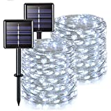 JMEXSUSS Solar Fairy Lights Outdoor Waterproof 2 Pack Each 66ft 200 LED Solar String Lights White 8 Modes Copper Wire Lights for Tree Garden Patio Wedding Party Yard Christmas Decoration