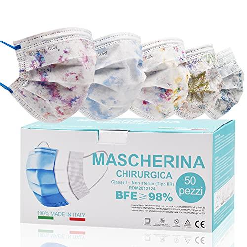 50 Stück OP Masken bunt, Einwegmasken für Erwachsene, CE zertifiziert Mundschutz medizinisch bunt, medizinischer Mundschutz bunt made in EU, flitereffiziente medizinische Masken mit Blumen
