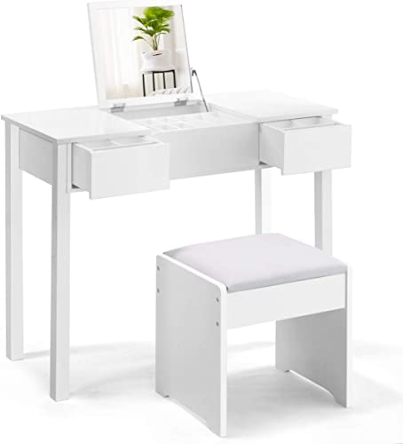 lowest Giantex Vanity Set with Flip Top Mirror and Cushioned Stool, Makeup Dressing Table Writing Desk with 2 sale Drawers & 2021 3 Removable Organizers, Makeup Table Set Easy Assembly, White online sale