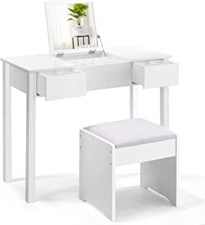 Giantex Vanity Set with Flip Top Mirror and Cushioned Stool, Makeup Dressing Table Writing Desk with 2 Drawers & 3 Removable Organizers, Makeup Table Set Easy Assembly, White