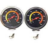 BBQ Thermometer Gauge, 2 Pack 50 to 800F BBQ Barbecue Charcoal Grill Pit Wood Smoker Temperature Gauge Grill Pit Thermometer Fahrenheit for Barbecue Meat Cooking Beef Pork Lamb
