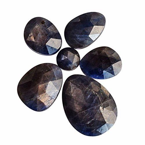 Cabujón de 6 piezas de zafiro azul natural de 23 quilates, lote al por mayor, piedra preciosa para bisutería, AG-8146