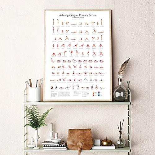 Póster Yoga Impresiones artísticas Lienzo decoración artística Pared para abitación Yoga Ashtanga Serie Primaria Regalos Fitness para niñas decoración Pintura artística para gimnasio-20x28inch