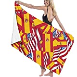 Toallas de baño Bandera de España con Bandera de América Toalla de Playa Multiusos de Gran tamaño 130 X 80 cm Absorbente de Agua súper Suave