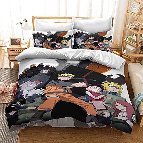 Naruto Uzumaki Duvet Cover Anime Bedding Sets for Children Cartoon 3 Pieces Bedding Sets for Teens-200 * 200cm-A_180x200cm