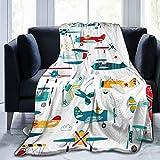 Hangdachang Airplanes - Manta para niños, Manta Ultra Suave, Manta de Cama Ligera, sofá, Alfombra de Invierno para Mujeres, Hombres, niños, 127 x 102 cm / 50 x 40 Pulgadas