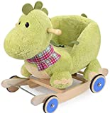 LLLKKK - Caballo balancín infantil de madera sólido juguete dinosaurio silla mecedora de regalo envejecido, carruaje de dibujos animados de madera bonita y segura (color : con rueda de goma)