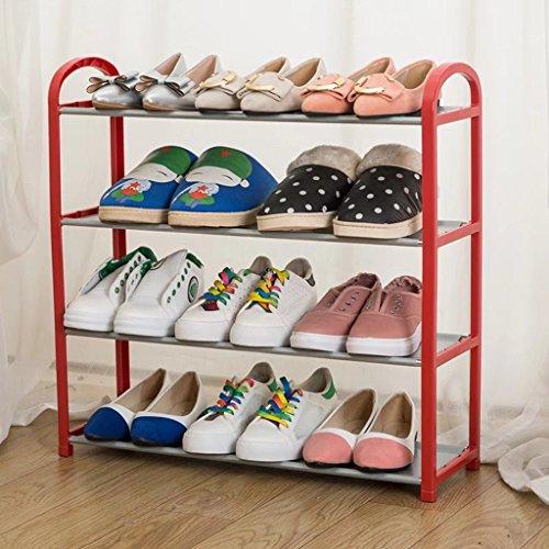 Estante de zapatos de acero inoxidable de 4 niveles, organizador de calzado que ahorra espacio, torre de almacenamiento de zapatos, armario de zapatos de tela no tejida, rojo