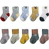 MaoXinTek Baby Socken 10 Paar Unisex Baumwolle Elastisch Weich Kinder Stricksocke für 0-24 Monate