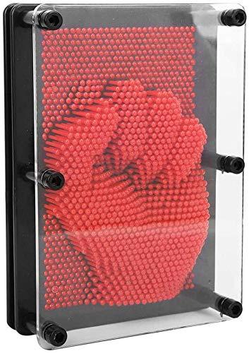 HEEPDD 3D Pin Art Spielzeug, Kunststoff Pin Art Board Klon Pin Art Skulptur Pin Impression Spielzeug Home Office Desktop Spielzeug für Kinder Erwachsene Geschenk(rot)