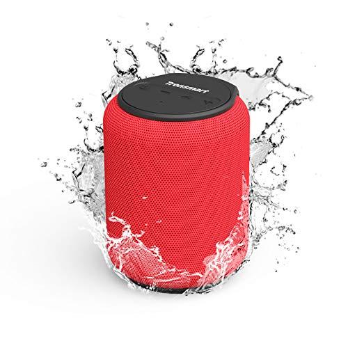 Tronsmart T6 Mini Cassa Bluetooth 15W, 24 Ore Riproduzione, Audio Stereo TWS 360°, IPX6 Impermeabile, Altoparlante Wireless Portatile 5.0, Supporto Scheda di Memoria USB 64G e Assistente Vocale -Rosso