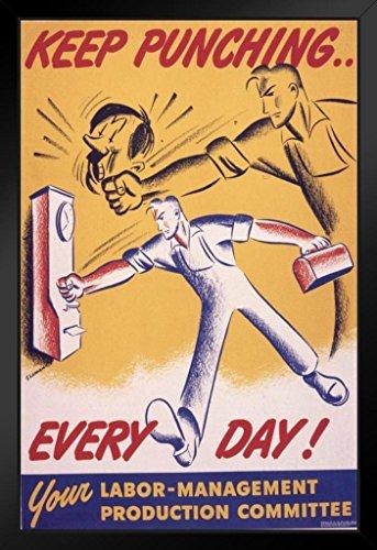 Keep Punching Every Day World War II Propaganda Black Wood Framed Poster 14x20