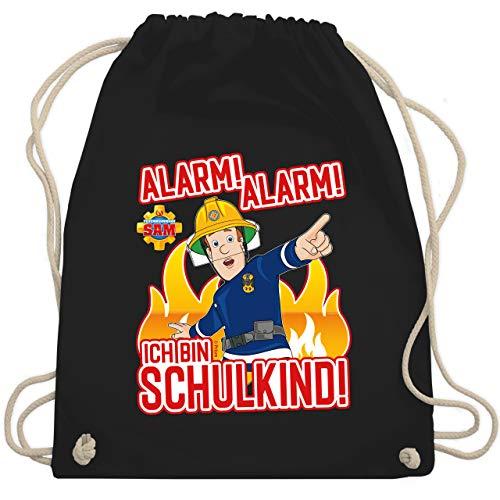 Shirtracer Feuerwehrmann Sam Tasche - Alarm! Alarm - Ich bin Schulkind! - Unisize - Schwarz - Schulkind - WM110 - Turnbeutel und Stoffbeutel aus Baumwolle