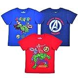 Marvel 3 Pack Boy's Avengers Short Sleeve Superhero Tee Shirt Set, Blue/Red, Size 4