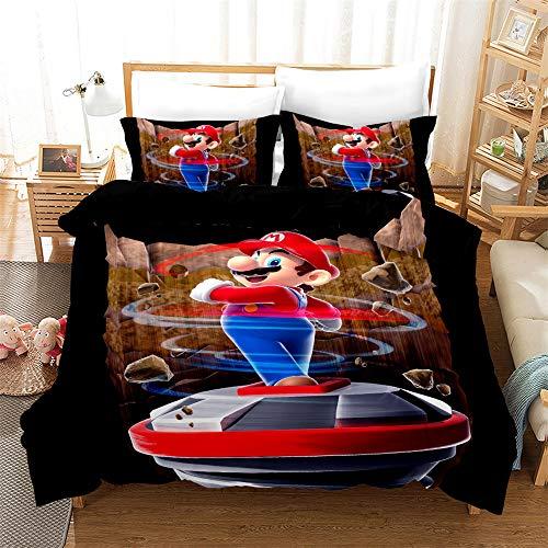 WeiManDuo Mario Game Children's duvet cover Set -3D Printed Microfibre Duvet Cover and Two Pillowcases (G, 135x200cm)