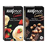 Manforce Cocktail Condoms with Dotted-Rings Combo Pack (Strawberry+ Vanilla & Chocolate+ Hazelnut)- 10 Pieces (Pack of 2)