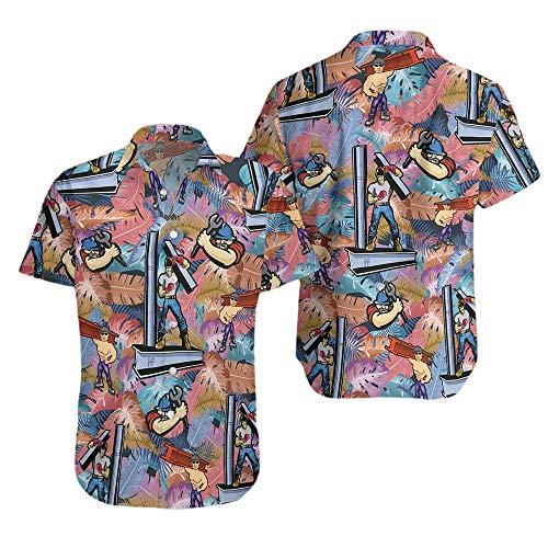 H/Mm Tropical Ironworker Proud Flower Pattern Hawaiian Shirt