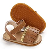 SOFMUO Baby Girls Boys Tassel Sandals Premium Soft Anti-Slip Rubber Sole Infant Summer Outdoor Shoes Toddler First Walkers(Brown,12-18 Months)