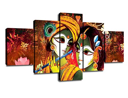Decor for Wall Radha Krishna Picture Classic Painting 5 Panel Canvas Wall Art Living Room Decorations Poster Prints Framed Ready to Hang(60''Wx32''H)