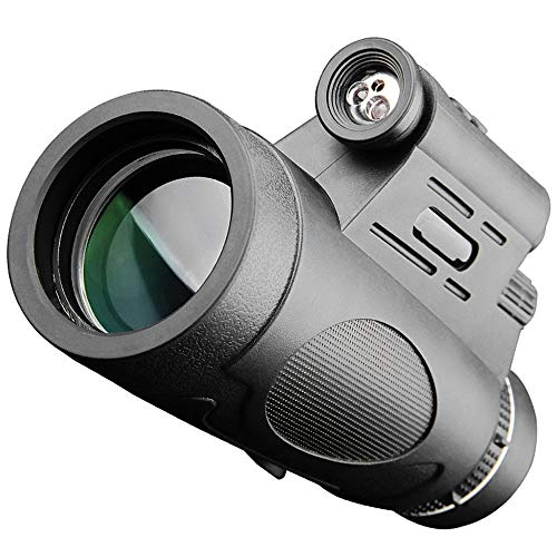 SSCYHT 12x50 Monocular Telescope, HD, Low Light Night Vision, for Hiking Hunting Camping Bird Watching Best Gifts, with Illuminated and Infrared, IR (Batteries not Included)