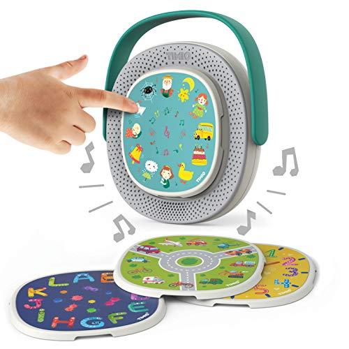 TIMIO Scheiben TM01-02 Die Interaktive Und Lehrreiche Musikbox Bildschirm Ab 2 Jahren, 20 Discs Mit Mehr Als 14 Stunden Inhalt, 8 Sprachen DE/ES/FR/IT/NL/CN/EN/BR-PT, Kinder