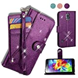 AYMECL Galaxy S5 Wallet Case, Galaxy S5 Case[Glitter Sparkly Style] Premium PU Leather Kickstand Card Slots Case with ID and Credit Card Pockets for Galaxy S5-PT Purple