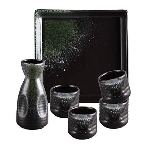 Ensemble de saké Exquis de 6 pièces, Ensemble de Tasses à saké à glaçure Lisse Green Ice Crack avec Plateau, Tasses en céramique de Texture pittoresque, pour Froid/Chaud/Shochu/thé Mei