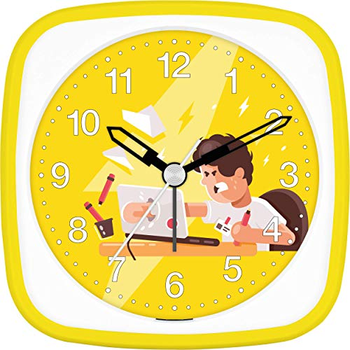 Eurotime wekker werk werk agressies heren dames kinderen, geel, kunststof behuizing en kunststofglas, geluidsarme wekker, zonder tikken, met licht en alarmherhaling, 27150-03
