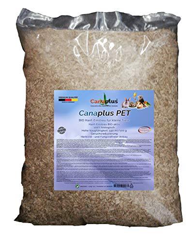 Canaplus Pet 12 litros - Lecho de cáñamo para hámsteres, cobayas, Conejos, roedores, 100% orgánico, Alto Poder Absorbente, Libre de Polvo dañino, Adecuado para Animales alérgicas. Producto Patentado