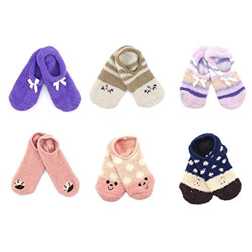 BambooMN Women's Super Soft Warm Cozy Fuzzy Slipper Socks Assortment O5-6 Pair Value Pack