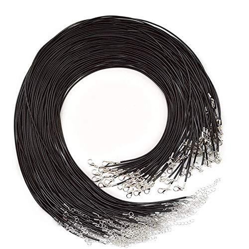cherrypop 20 piezas de 50 cm de cordón encerado negro con cierre a granel para pulsera y joyería