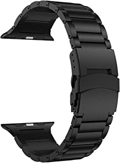 LDFAS Compatible for Apple Watch Band 44mm/42mm, Sport Stainless Steel Metal Replacement Strap with Safety Buckle Compatible for Apple Watch Series 5/4/3/2/1 Smartwatch, Black