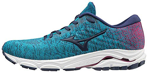 Mizuno Women's Wave Inspire 16 WAVEKNIT Running Shoe Road, Enamel Blue-Medieval Blue, 7 B
