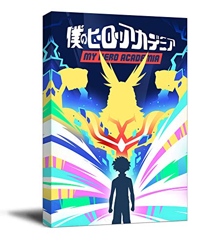 My Hero Academia - Lienzo decorativo para pared (50,8 x 76,2 cm), diseño de anime con texto 'All Might & Izuku Midoriya'