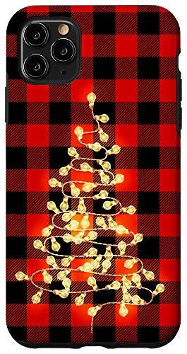 iPhone 11 Pro Max Christmas Plaid Xmas Tree Lights Red & Black Buffalo Plaid Case