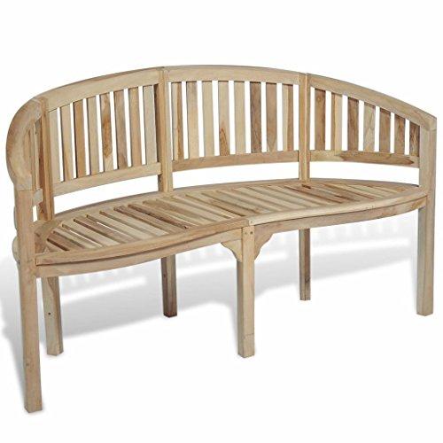 yorten yorten Bananenbank 3-Sitzer-Gartenbank Teak Banana Bench Teak Furniture Garden Furniture Garden Benches 151 x 62 x 86 cm für 3 Personen