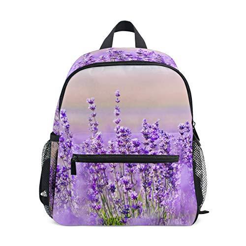 Small School Bag Lavender Flower Violet Mauve Backpack for Girl Boy Children Mini Travel Daypack Primary Preschool Student Bookbag