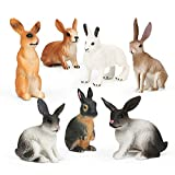 7Pcs Rabbit Toy Figure Easter Bunny Figurine Animal Easter Rabbit Characters Toys for Kids Playset, Rabbit Cake Topper Cupcake for Birthday Party Fairy Ornament